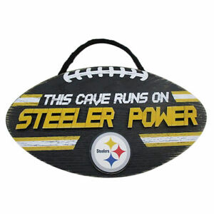 """NFL """"This Cave Runs On Steelers Power"""" Wood Football Sign"""