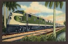 VINTAGE POSTCARD THE NEW ROYAL PALM LUXURIOUS STREAMLINED TRAIN