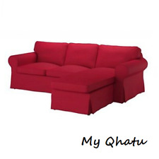 Ikea EKTORP 3 Seat Sectional Loveseat w/ Chaise Cover Slipcover NORDVALLA RED