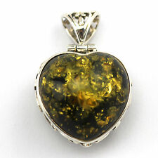 STUNNING VICTORIAN STYLE GREEN AMBER HEART FILIGREE PENDANT 925 STERLING SILVER