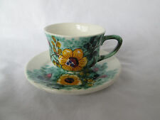 Vintage Fabrica De Loica De Sacavem Demitasse Floral Cup & Saucer Portugal