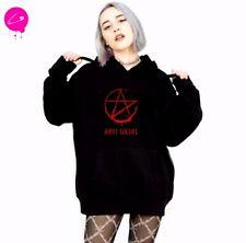 Pentagram Anti Social Killstar Black Gothic Punk Harajuku Grunge Pullover Hoodie