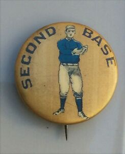 1896 PD1 POSITION PIN Pinback Button SECOND BASE Baseball WHITEHEAD & HOAG