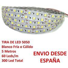Tira de Led 5050 INTERIOR Blanco Frio o Cálido 60 Leds/m IP20 strip Desde España