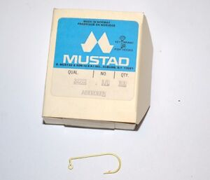 New Mustad Aberdeen 90 Degree Gold Fish Jig  Hook Size 1/0 32762 100 hooks