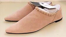 ZARA Flat Suede Taupe Leather Shoes with Pompoms Pointed Toes Size 6