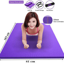 10MM THICK Non-Slip Yoga Mat for Exercise Fitness 183 x61CM NBR With Carry Bag
