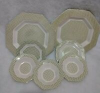 7 pc Collection Independence Ironstone Green BY CASTLETON CHINA- Interpace