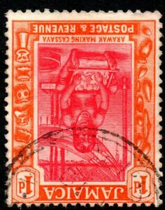 1922 Jamaica Sg 95w 1d carmine and orange 'Crown to Right of CA' Fine Used