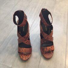 ZARA Women's High Heel Printed Leather Sandal(Brown, US 6.5/EUR 37)