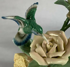 Hummingbird and Roses Figurine Painted Sculpture Vibrant Colors and No Defects