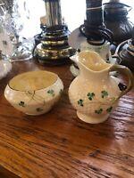 Belleek Shamrock Ireland Porcelain Bone China Creamer & Sugar Bowl Green Mark