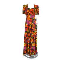 Vintage 1970s Prairie Floral Blue Orange Maxi Dress Puff Shoulder sz Large /4465