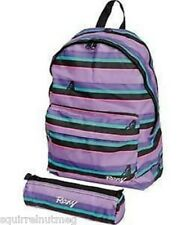 ROXY A Rayas Stripy Mochila Bolso Escolar Púrpura/Con Estuche Gratis Lápiz Bnwt