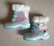 Disney Frozen Girls Snow Winter Boots Shoes Size 10 Brand New Furry Top Ana Elsa