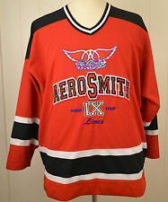 Aerosmith 9 Lives Concert Tour Hockey Jersey Sweater Large Red Sewn Giant Shirt