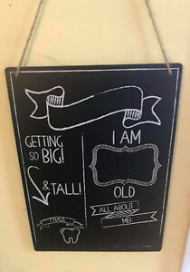 """New Baby Chalkboard Hanging Sign - I'm This Old! (14"""" L x 10"""" W)"""