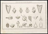 1844 - Antik Instrumente Musik - Gravur Antik
