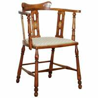 STUNNING EDWARDIAN BOW BACK WALNUT CHAIR ARTS & CRAFTS MOTHER OF PEARL INLAY