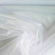 Organza Fabric Curtains Tulle Chiffon Roll Wed Decor Party 10/15 Meters 150cm W White 1 Meter(100*150cm)