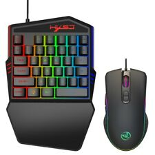 Portable LED One Hand Gaming 35 Keyboard + USB Wired Mouse for PC/ Xbox One/PS4