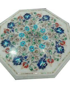 """18"""" Marble side end table top semi precious stones pietradura inlay work"""