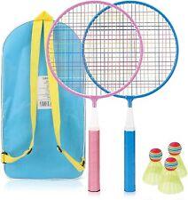 Badminton Kinder Federball Schläger Set inkl. 3X Federbälle Badmintonbälle