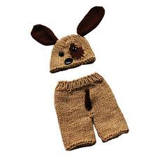Newborn Baby Knitted Puppy Hat Pants Set Handmade Crochet Photo Prop Costume