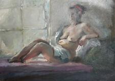 VINTAGE OIL PAINTING IMPRESSIONIST NUDE FEMALE PORTRAIT