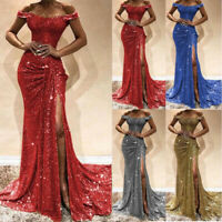 Lady Womens Shiny Long Evening Cocktail Party Ball Gown Bridesmaid Wedding Dress