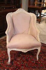 Fauteuil blanc et velours beige de style Louis XV