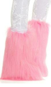 Metallic Furry Legwarmers Fuzzy Boot Covers Fluffy Sparkle Shimmer Gold 997921