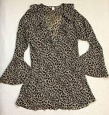 VICTORIAS SECRET Large SHEER Leopard Print Deep Vneck BELL SLEEVE XTall Robe Top