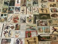 BIG ~LOT OF 1900s ANTIQUE~COMIC HUMOR funny~POSTCARDS-All In Sleeves-b523