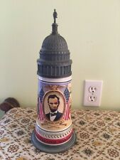 Anheuser Busch 1992 Civil War Stein With Pewter Top Featuring Abraham Lincoln