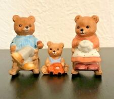 "Homco Bear Family Trio Figurines, Small 2.5"" H x 1"" W"