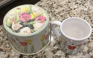 Hallmark Nature's Sketchbook Coffee Mug Marjolein Bastin Flowers Tulips Bees NIB