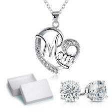 "Sterling Silver Necklace  CZ Stone Open Heart Mom Pendant 18"" Chain K69"