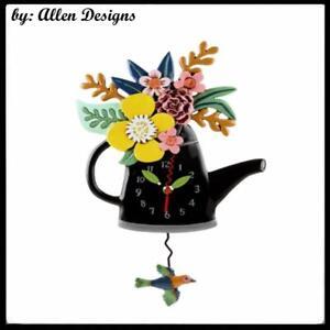 Gorgeous BLOSSOMS BLACK Kettle Designer Pendulum Wall Clock by Allen Designs