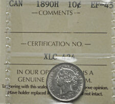 1890-H Canada 10 cents ICCS graded EF-45
