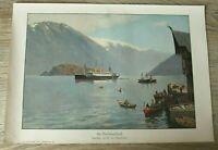 Blatt Norwegen Hardangerfjord 1912 Nordlandfahrt Schiff Dampfer von Eckenbrecher