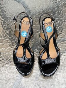 SOFFT  BLACK Leather Upper  Slingback Strappy Open Sandals 8 1/2 W