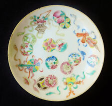 Antique Chinese Porcelain Plate Dish Rose Famille Qianlong Qing 19th Century