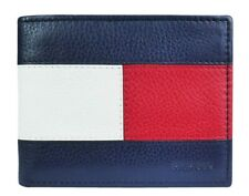 New Tommy Hilfiger Men's Leather RFID Blocking Bifold Wallet Navy/Red 31TL220109