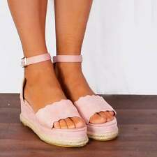 BABY PINK WEDGED CANVAS PLATFORMS FLATFORMS WEDGES ESPADRILLES STRAPPY SANDALS