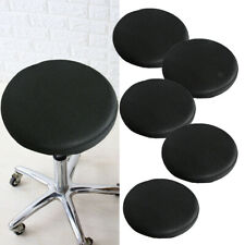 5x 16'' Elastic Bar Stool Covers Round Chair Seat Cushion Slip Covers Black
