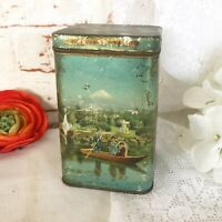 Antique Asian Tea Tin Litho Box, Vintage Advertising Ferndell Remus, Japanese