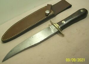 1970's~CLASSIC ARMS INT'L LTD.~BOWIE~HUNTING & FIGHTING KNIFE w/LEATHER SHEATH~