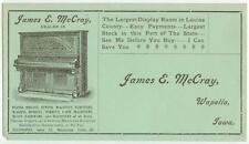 c1900 Wapello Iowa James E McCray Newman Bros Pianos Organs ad cover Farm Equip