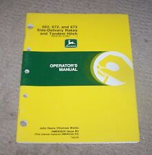 John Deere 662 672 673 Side Del Rake & Tandem Hitch Operators Manual  Used  B3
